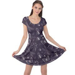 Blue Hand Drawing Insect Pattern Vintage Style Cap Sleeve Dress