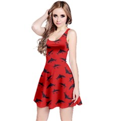 Red Sharks Pattern Reversible Sleeveless Dress