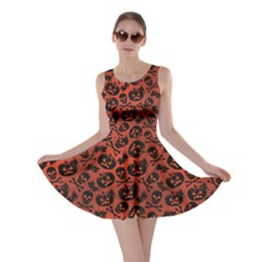 Brown Halloween With Pumpkin And Skeleton Pattern Skater Dress