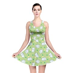 Green Happy Hippo With Friendly Bird Pattern Reversible Skater Dress
