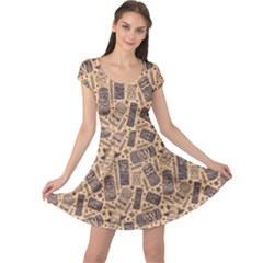 Brown Vintage Aloha Tiki Pattern For Your Business Cap Sleeve Dress