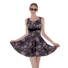Black Cartoon Halloween Pattern Skater Dress