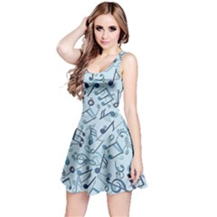 Blue Pattern with Music Notes Sleeveless Skater Dress