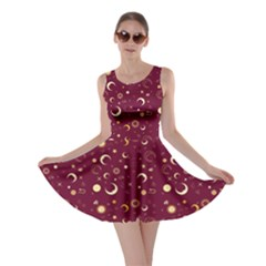 Wine Fun Night Sky the Moon and Stars Skater Dress