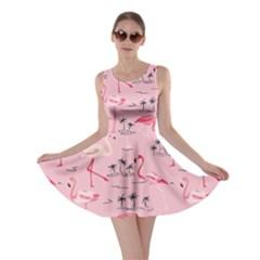 Pink Flamingo Bird Pattern Skater Dress