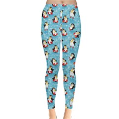 Blue Pattern Funny Penguins Snowflakes On Blue Icy Leggings