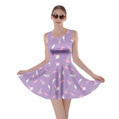 Lavender Space with Cats Saturn and Stars Skater Dress