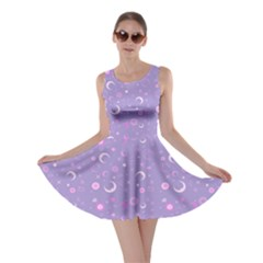 Lavender Fun Night Sky The Moon And Stars Skater Dress