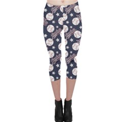 Blue Baseballs And Stars Pattern Capri Leggings