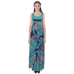 Turquoise Forest Empire Waist Maxi Dress