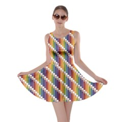 Colorful Colored Rainbow Pencils Pattern Skater Dress