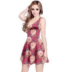 Red Vintage Roses Pattern Sleeveless Skater Dress