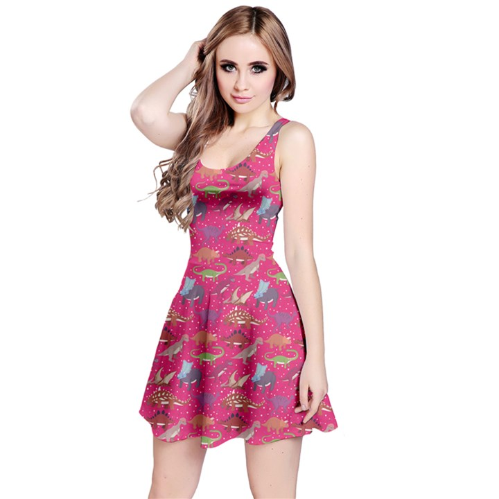 Hot Pink Dinosaur Stylish Pattern Skater Dress