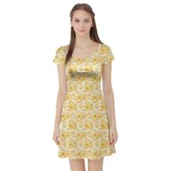Orange Lemon Pattern Short Sleeve Skater Dress