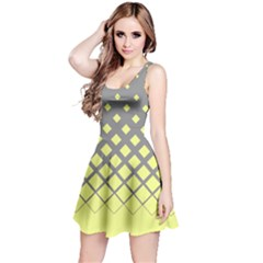 Grey Yellow Gradient Rhombuses Reversible Sleeveless Dress