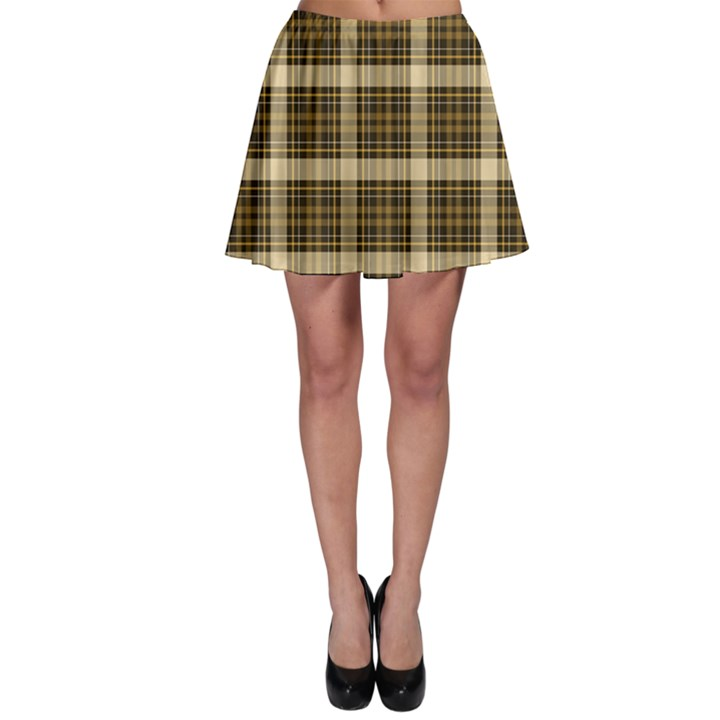 Yellow & Black Tartan Plaid Pattern Skater Skirt