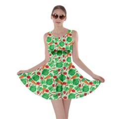 Light Green Vegetable Pattern Skater Dress
