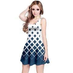White & Blue Gradient With Black Rhombuses Sleeveless Skater Dress