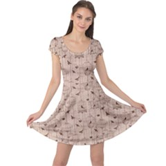 Brown Retro Pattern with Birds and Cage Cap Sleeve Dress
