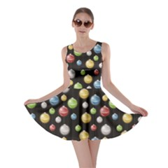 Colorful A Depicting Multicolored Christmas Baubles Or Lights Skater Dress