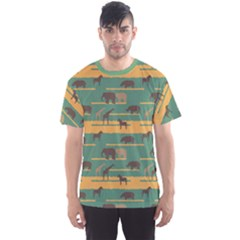 Green Pattern With African Animals Silhouettes Men s Sport Mesh Tee