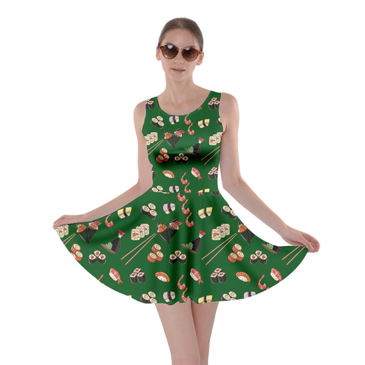 Dark Green Japanese Food Sushi Pattern Skater Dress