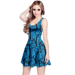 Sky Blue Ravens Pattern Reversible Sleeveless Dress