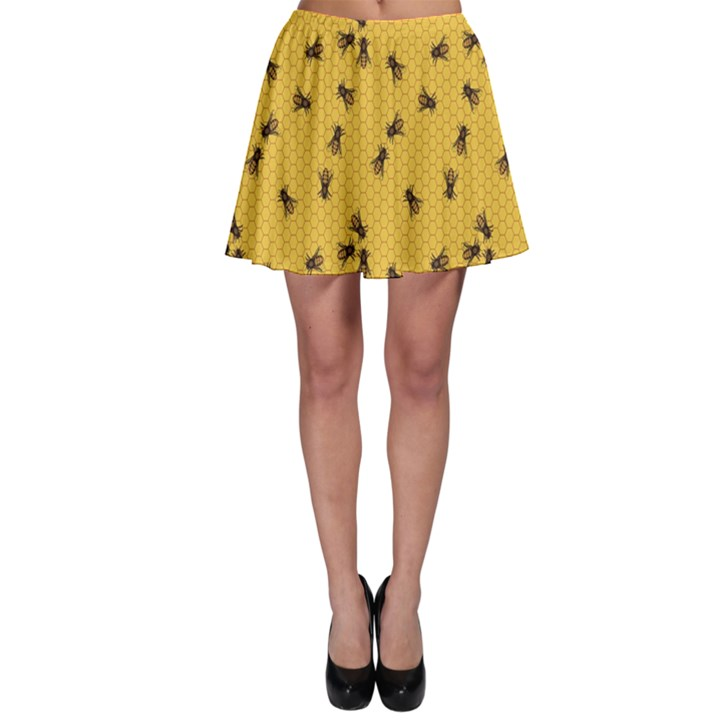 Yellow Pattern of the Bee on Honeycombs Skater Dress