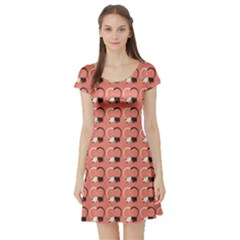 Pink Pattern Cute Cats In Love Short Sleeve Skater Dress