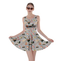 Gray Japanese Food Sushi Pattern Skater Dress