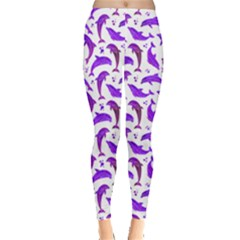 Purple Watercolor Dolphins Pattern Leggings