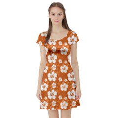 Orange Short Sleeve Skater Dress