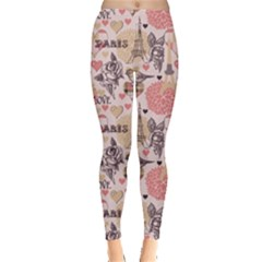 Pink Paris Pattern Leggings