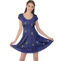 Blue Pattern Owls In The Night Forest Cap Sleeve Dress