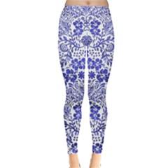 Blue Vintage Floral Leggings