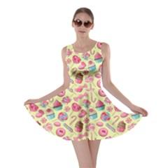 Yellow Lollipop Candy Macaroon Cupcake Donut Skater Dress