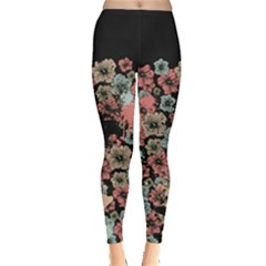 Dark Green Floral Leggings