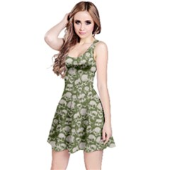 Olive Grunge Pattern with Skulls Illustration Sleeveless Skater Dress