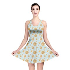 Gray Colorful Cartoon Pizza Texture with Confetti Reversible Skater Dress