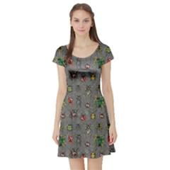 Gray Short Sleeve Skater Dress