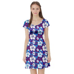 Blue Magic Short Sleeve Skater Dress
