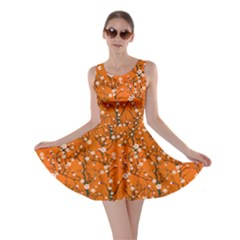 Orange Tree Pattern Japanese Cherry Blossom Skater Dress