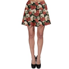 Brown Skull And Flowers Day Of The Dead Vintage Skater Dress