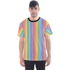 Colorful Striped Rainbow Pattern With Colorful Butterflies Men s Sport Mesh Tee