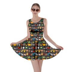 Black Set Of Funny Cartoon Animals Character On Black Zoo Skater Dress