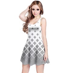 Light Gray Gradient with Black Rhombuses Sleeveless Skater Dress