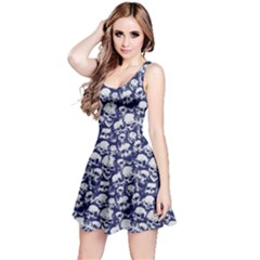 Navy Grunge Pattern with Skulls Illustration Sleeveless Skater Dress