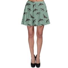 Turquoise Pattern Sharks Skater Skirt