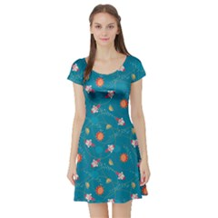 Blue Colorful Space With Cute Rocket Short Sleeve Skater Dress