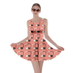 Pink Pattern Cute Cats In Love Skater Dress